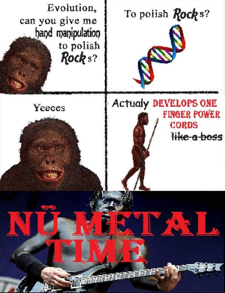 evolution meme - Poster - Evolution can you give me hand manipulation to polish Rocks? To polish Rocks? Actualy DEVELOPS ONE FINGER POWER Yeeces CORDS ike a boss NI METAL TIME