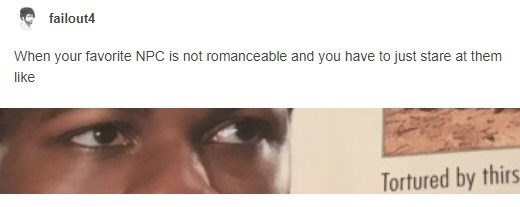 funny tumblr post When your favorite NPC is not romanceable and you have to just stare at them like Tortured by thirs