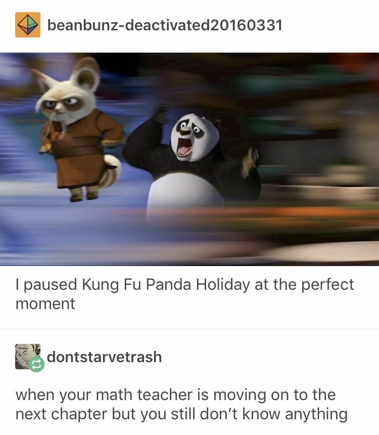 funny tumblr post I paused Kung Fu Panda Holiday at the perfect moment dontstarvetrash when your math teacher is moving on to the next chapter but you still don't know anything