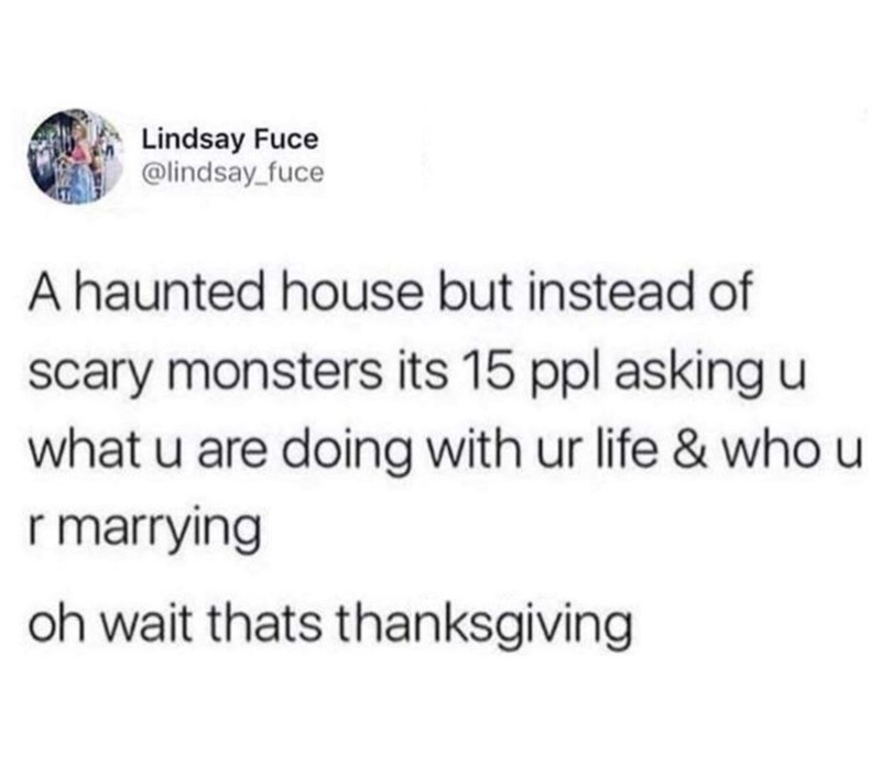 "Tweet that reads, ""A haunted house but instead of scary monsters it's 15 people asking you what you are doing with your life and who you are marrying. Oh wait, that's Thanksgiving"""