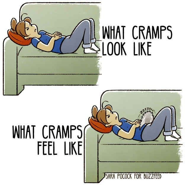 Cartoon - WHAT CRAMPS LOOK LIKE WHAT CRAMPS FEEL LIKE SARA POCOCK FOR BUZZFEED