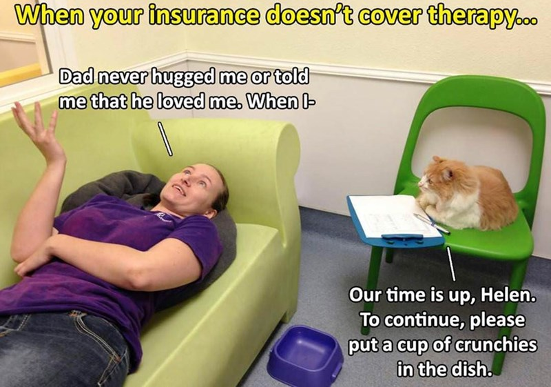 Companion dog - When your insurance doesn't cover therapy.. Dad never hugged me or told me that he loved me. When Our time is up, Helen. To continue, please put a cup of crunchies in the dish.