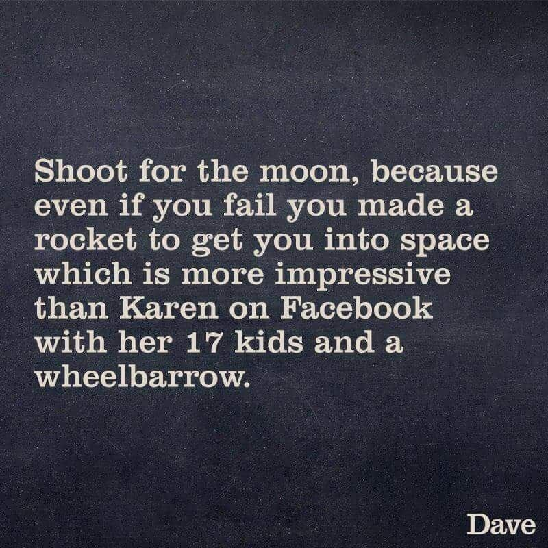 "Text that reads, ""Shoot for the moon, because even if you fail you made a rocket to get you into space which is more impressive than Karen on Facebook with her 17 kids and a wheelbarrow"""