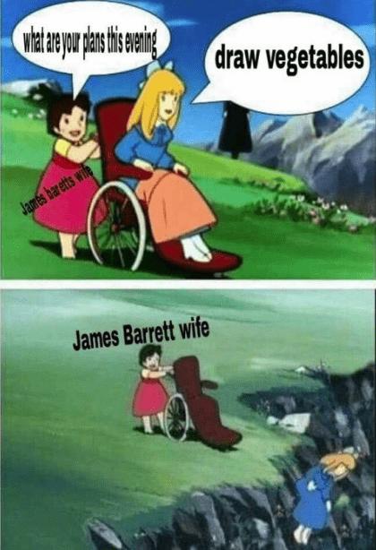 Cartoon - draw vegetables James bar etts wile James Barrett wife