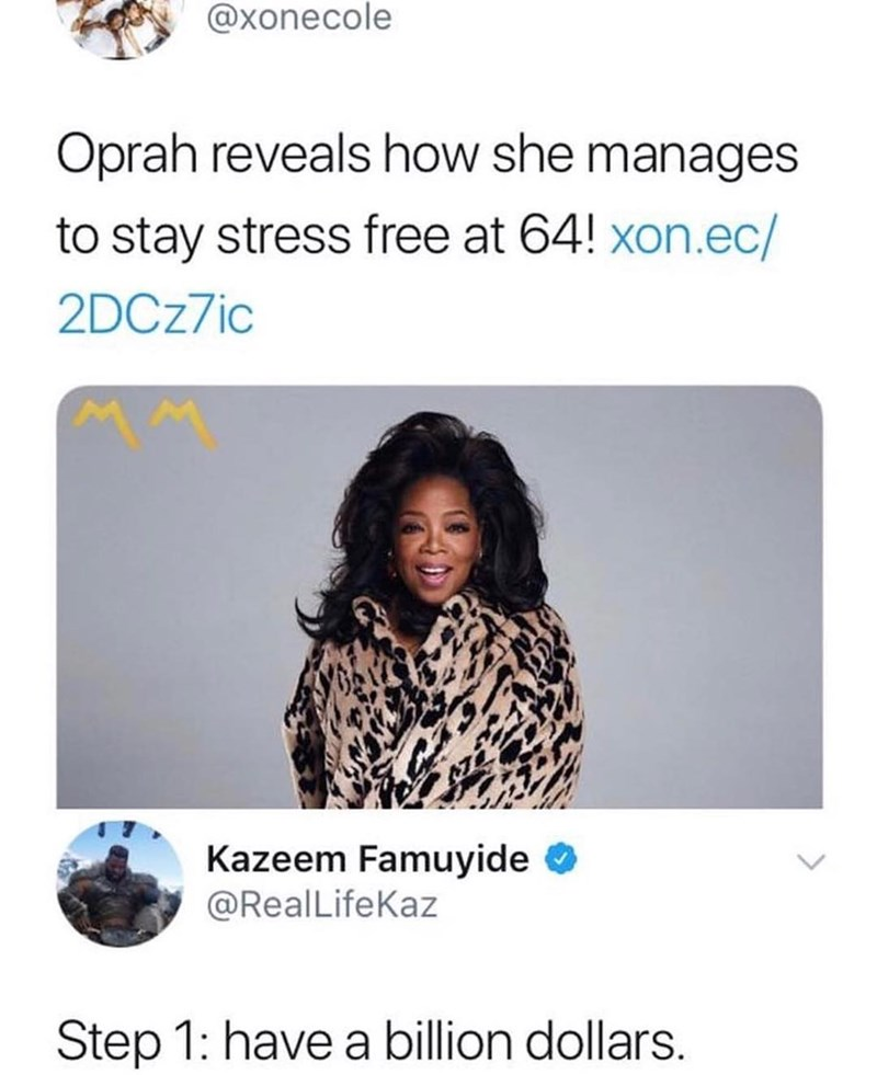 Funny meme about oprah, money, anxiety.