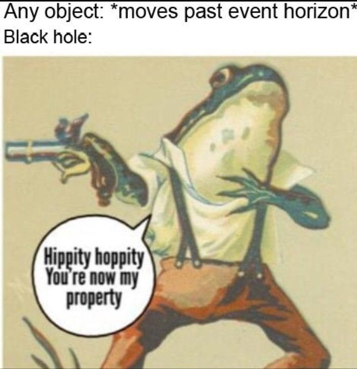 "Dank meme with caption that reads, ""Any object: *Moves past event horizon;* Black hole: ..."" above a drawing of a frog holding a gun saying, ""Hippity hoppity, you're now my property"""