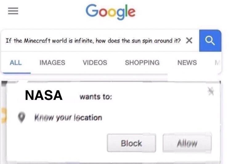 nasa wants to know your location after a good questions about minecraft