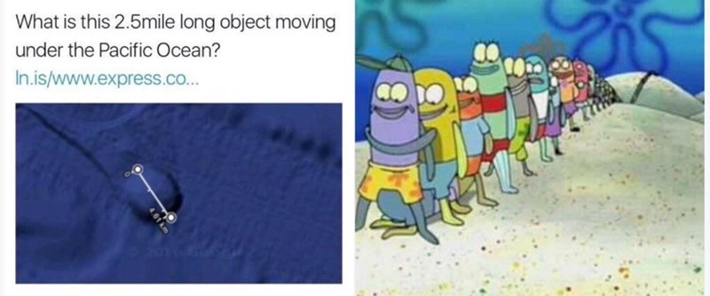 sponge bob line is reason for 2.5 mile long object moving under pacific ocean