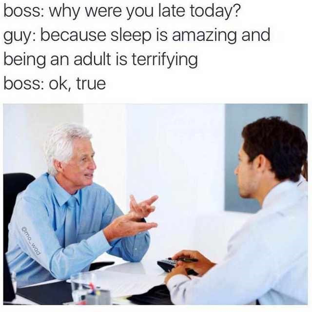 """Caption that reads, """"Boss: Why were you late today? Guy: Because sleep is amazing and being an adult is terrifying; Boss: Okay, true"""" above a stock photo of a boss talking to his employee"""