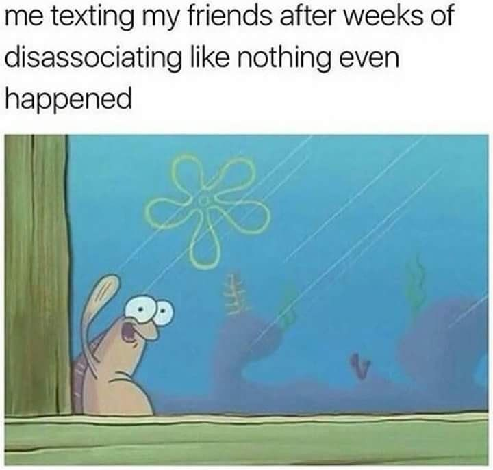 "Caption that reads, ""Me texting my friends after weeks of disassociating like nothing even happened"" above a pic of Random Fish Guy from Spongebob waving outside a window"
