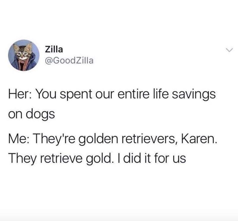 Tweet about how Karen doesn't understand the value of Golden Retrievers