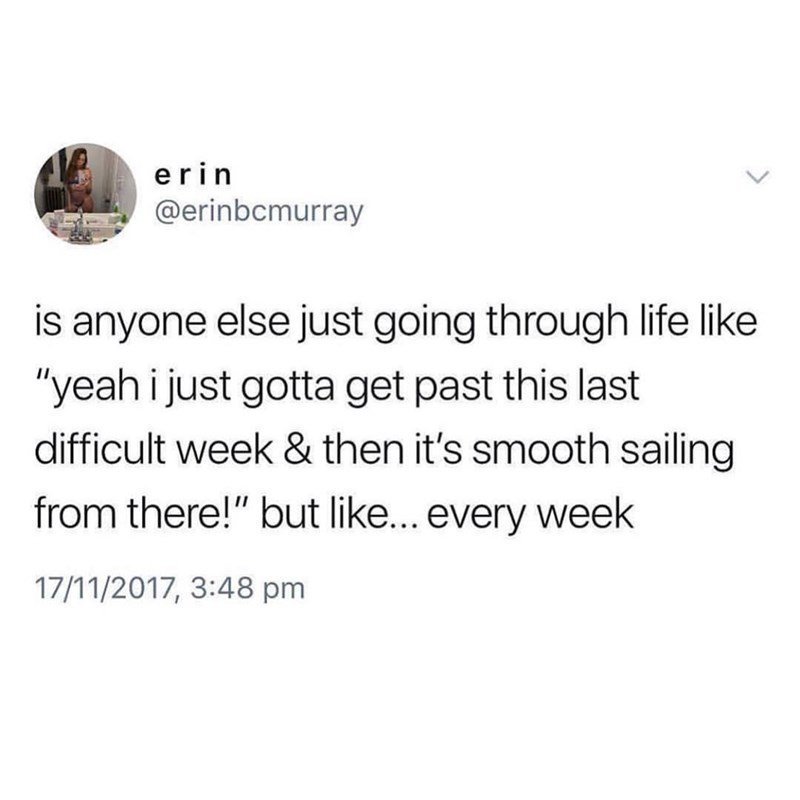 """Text - erin @erinbcmurray is anyone else just going through life like """"yeah i just gotta get past this last difficult week & then it's smooth sailing from there!"""" but like... every week 17/11/2017, 3:48 pm"""