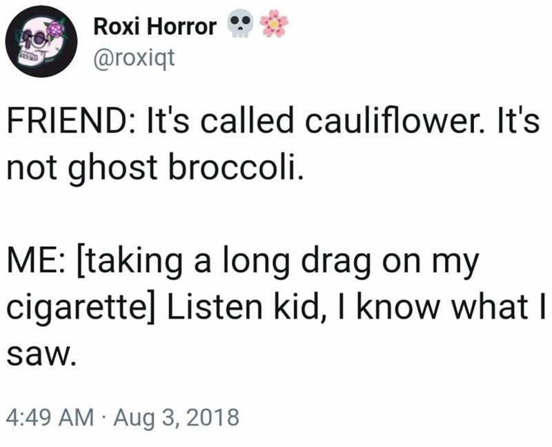 Tweet joking about calling cauliflower ghost broccoli