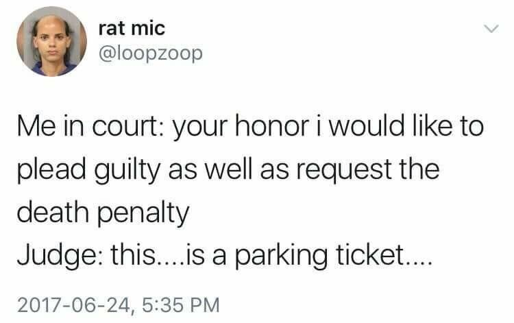 tweet of pleading guilty and requesting the death penalty for a parking ticket