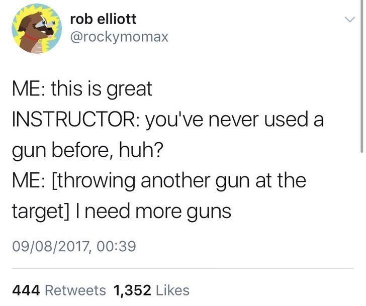 tweet of first time gun user