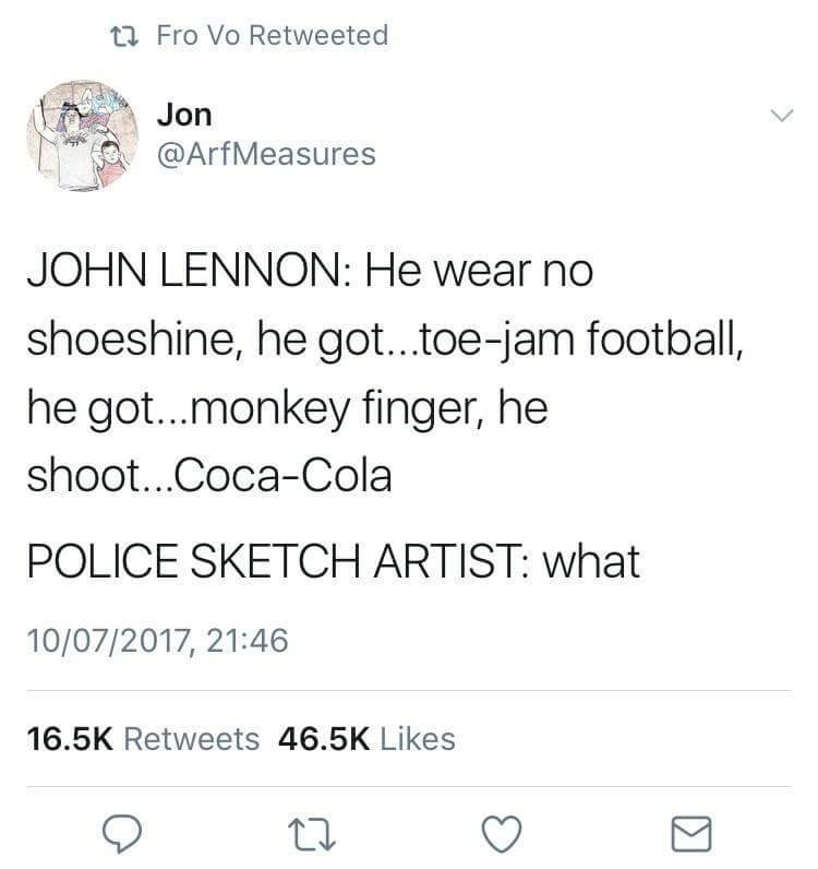beatles meme about sketch artist being confused with come together lyrics