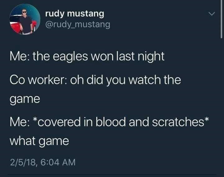 funny tweet about the eagles winning last night
