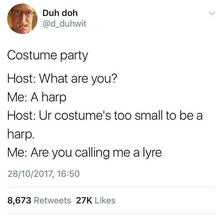 harp costume tweet