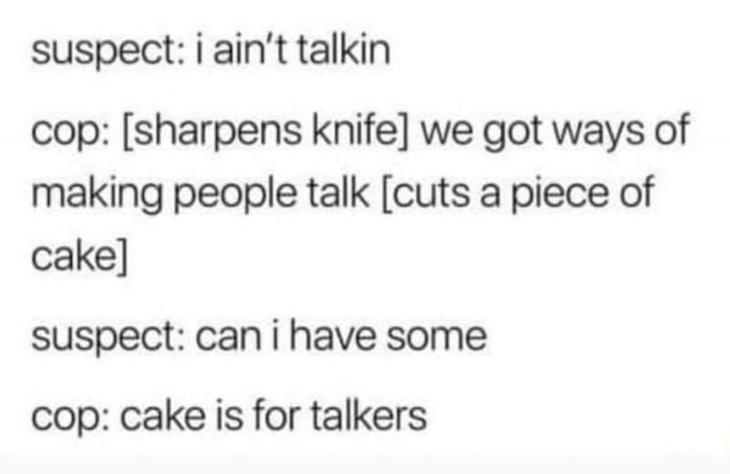 tweet of making people talk using cake