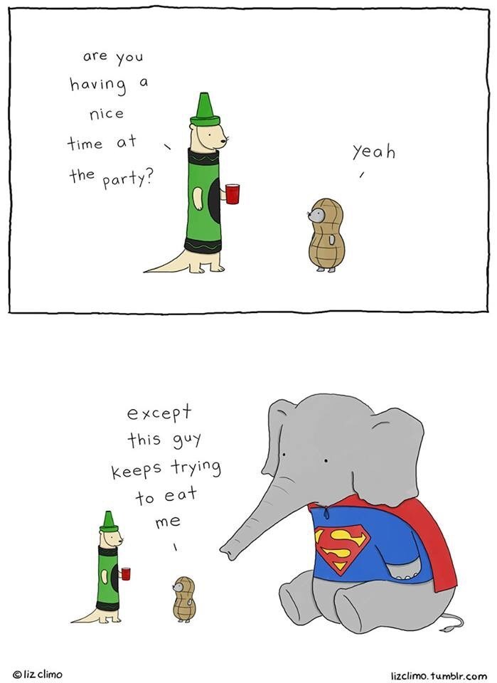 Cartoon - are you having a nice time at yeah the party? except this guy keeps trying to eat me liz climo lizclimo. tumblr.com