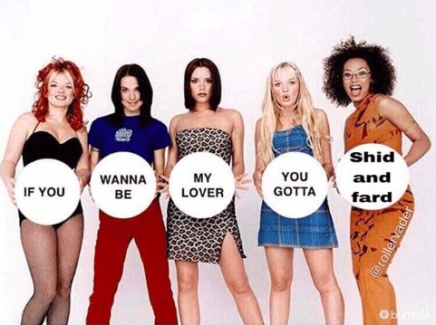 """Text reads, """"If you wanna be my lover, you gotta shid and fard"""""""