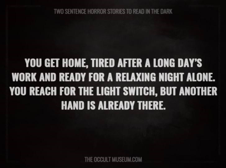 Text - TWO SENTENCE HORROR STORIES TO READ IN THE DARK YOU GET HOME, TIRED AFTER A LONG DAY'S WORK AND READY FOR A RELAXING NIGHT ALONE. YOU REACH FOR THE LIGHT SWITCH, BUT ANOTHER HAND IS ALREADY THERE. THE OCCULT MUSEUM.COM