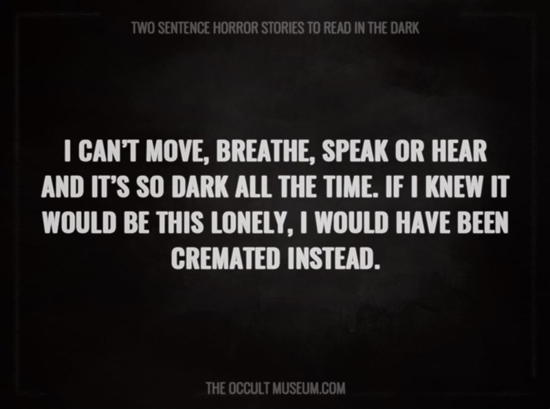 Text - TWO SENTENCE HORROR STORIES TO READ IN THE DARK I CAN'T MOVE, BREATHE, SPEAK OR HEAR AND IT'S SO DARK ALL THE TIME. IFI KNEW IT WOULD BE THIS LONELY, I WOULD HAVE BEEN CREMATED INSTEAD. THE OCCULT MUSEUM.COM
