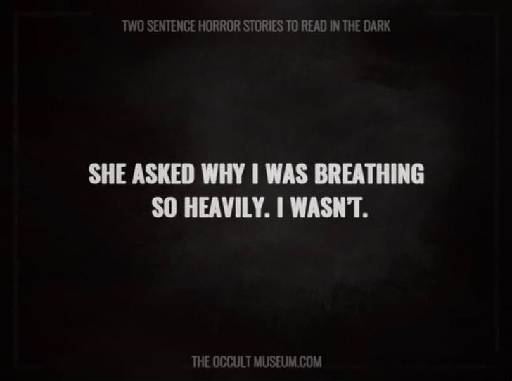 Text - TWO SENTENCE HORROR STORIES TO READ IN THE DARK SHE ASKED WHY I WAS BREATHING SO HEAVILY. I WASNT. THE OCCULT MUSEUM.COM