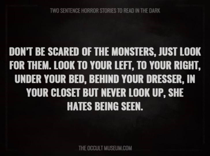 Text - TWO SENTENCE HORROR STORIES TO READ IN THE DARK DON'T BE SCARED OF THE MONSTERS, JUST LOOK FOR THEM. LOOK TO YOUR LEFT, TO YOUR RIGHT, UNDER YOUR BED, BEHIND YOUR DRESSER, IN YOUR CLOSET BUT NEVER LOOK UP, SHE HATES BEING SEEN. THE OCCULT MUSEUM.COM