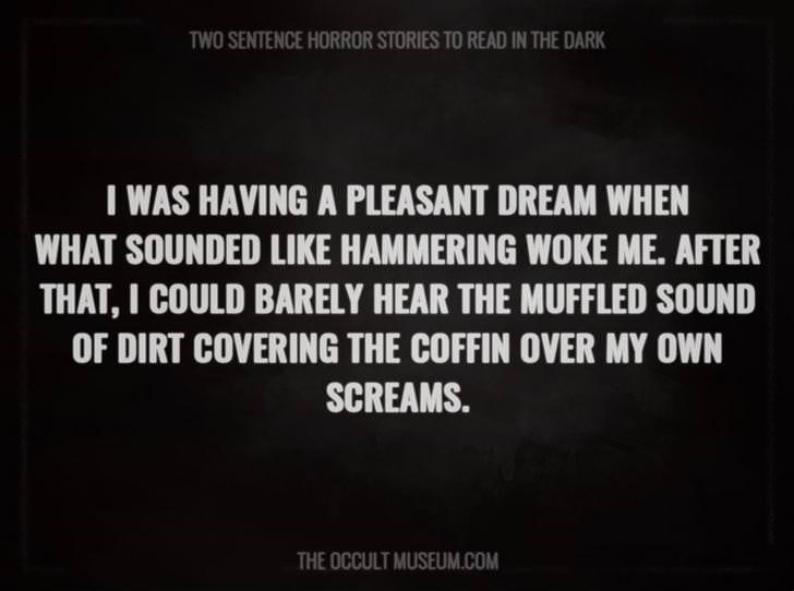 Text - TWO SENTENCE HORROR STORIES TO READ IN THE DARK I WAS HAVING A PLEASANT DREAM WHEN WHAT SOUNDED LIKE HAMMERING WOKE ME. AFTER THAT, I COULD BARELY HEAR THE MUFFLED SOUND OF DIRT COVERING THE COFFIN OVER MY OWN SCREAMS. THE OCCULT MUSEUM.COM