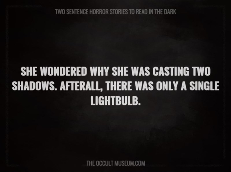 Text - TWO SENTENCE HORROR STORIES TO READ IN THE DARK SHE WONDERED WHY SHE WAS CASTING TWO SHADOWS. AFTERALL, THERE WAS ONLY A SINGLE LIGHTBULB. THE OCCULT MUSEUM.COM