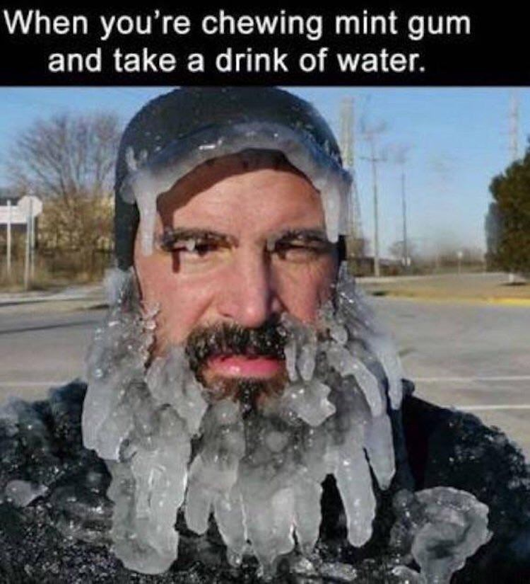 meme - Beard - When you're chewing mint gum and take a drink of water.