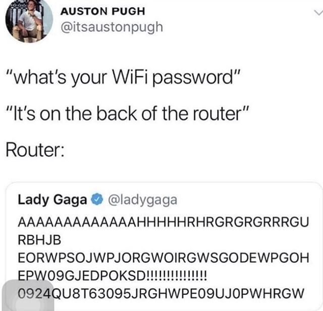 Funny meme, lady gaga gibberish tweet, wifi password.