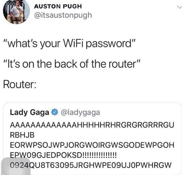 Funny meme, lady gaga gibberish tweet, wifi password.