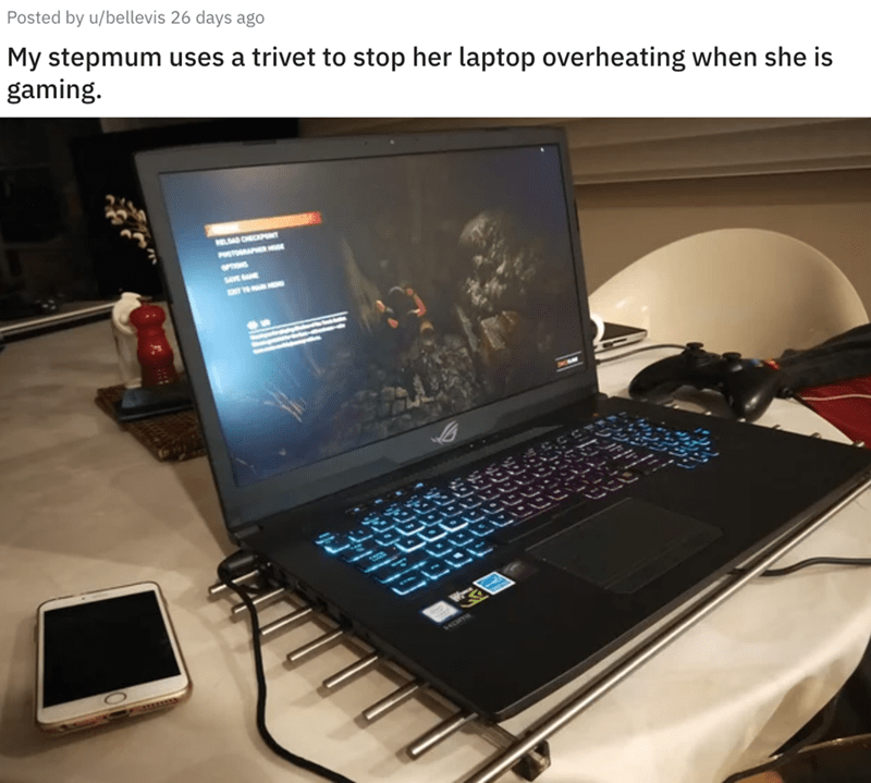 Electronic device - Posted by u/bellevis 26 days ago My stepmum uses a trivet to stop her laptop overheating when she is gaming. PR POTO