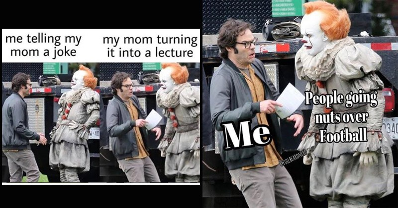 "Funny memes entitled, ""Bill Hader Running From Pennywise"""