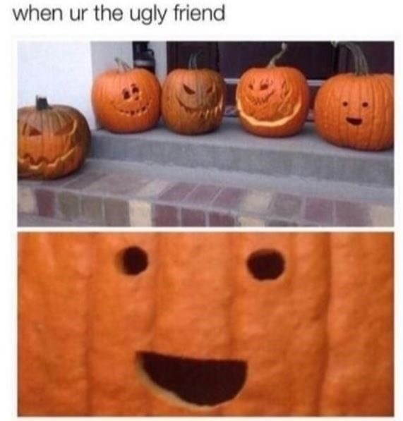 "Caption that reads, ""When you're the ugly friend"" above a pic of some carved pumpkins and a very ugly simple pumpkin in the group"