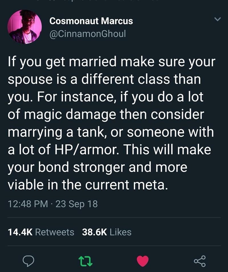 tweet post about making sure to marry someone who is in a different class than you