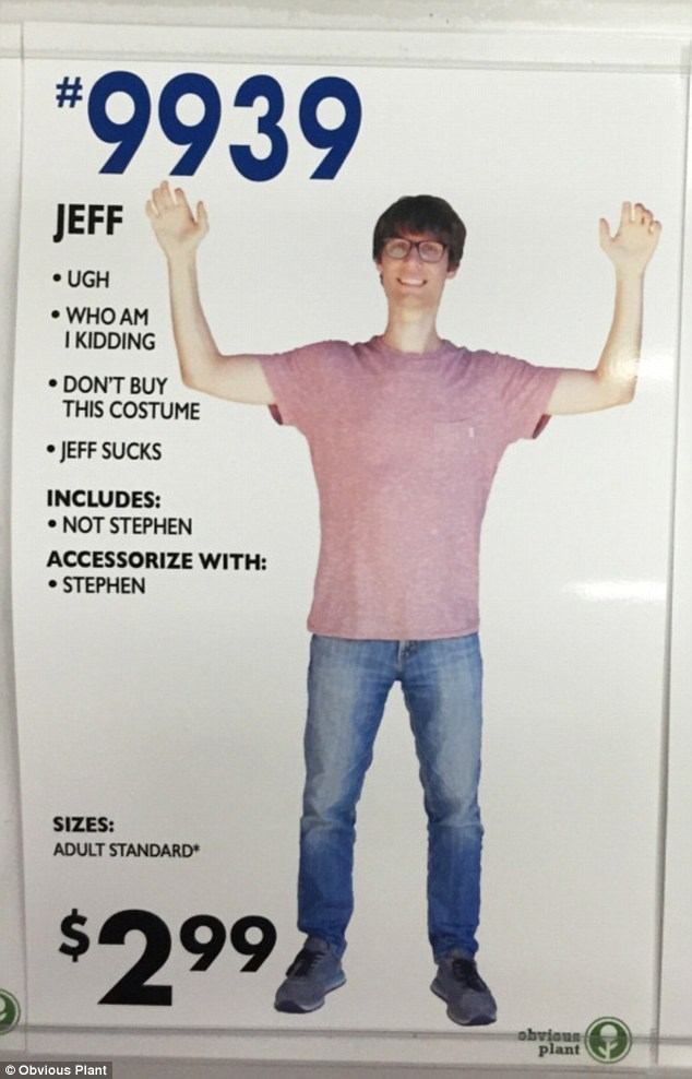 """Standing - """"9939 # JEFF UGH WHO AM I KIDDING DON'T BUY THIS COSTUME JEFF SUCKS INCLUDES: NOT STEPHEN ACCESSORIZE WITH: STEPHEN SIZES: ADULT STANDARD $2 99 plant Obvious Plant"""