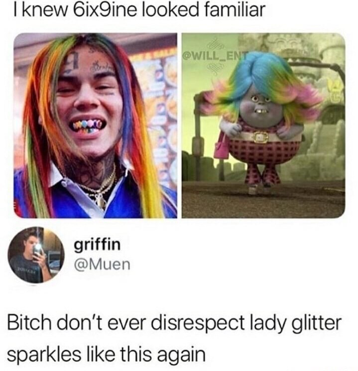 tweet post about how 6ix9ine and lady glitter sparklers look alike by: @Muen