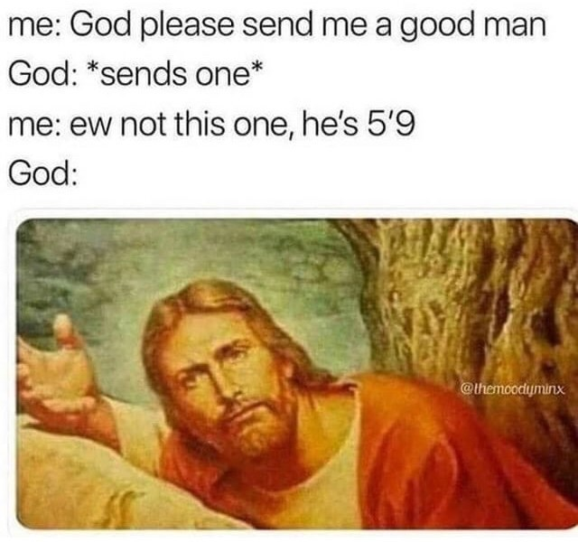 Text - me: God please send me a good man God: *sends one* me: ew not this one, he's 5'9 God: @themoodyminx