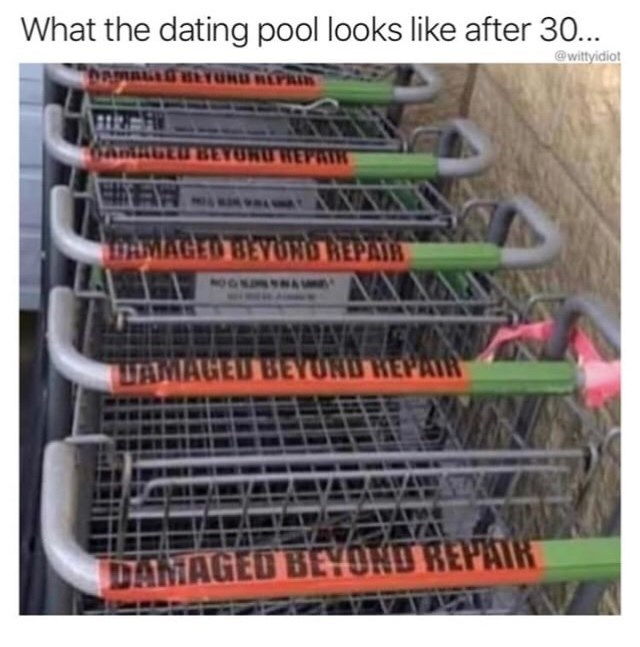 Product - What the dating pool looks like after 30... @wittyidiot MALLG BEYOND REPA 6AnAGED BEYUNU DAMAGED BEYOND REPAIR NOO TAMAGED BEYUND HEPAI AL DAMAGED BEYOND REPAIR