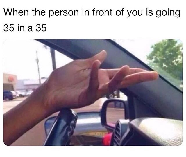Vehicle door - When the person in front of you is going 35 in a 35