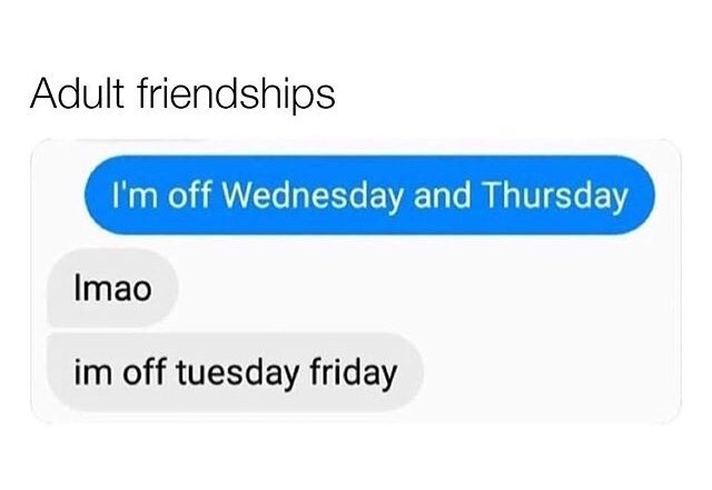 Text - Adult friendships I'm off Wednesday and Thursday Imao im off tuesday friday