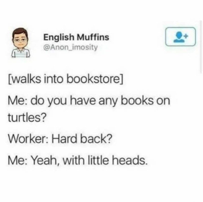 Text - English Muffins @Anon imosity [walks into bookstore] Me: do you have any books on turtles? Worker: Hard back? Me: Yeah, with little heads.