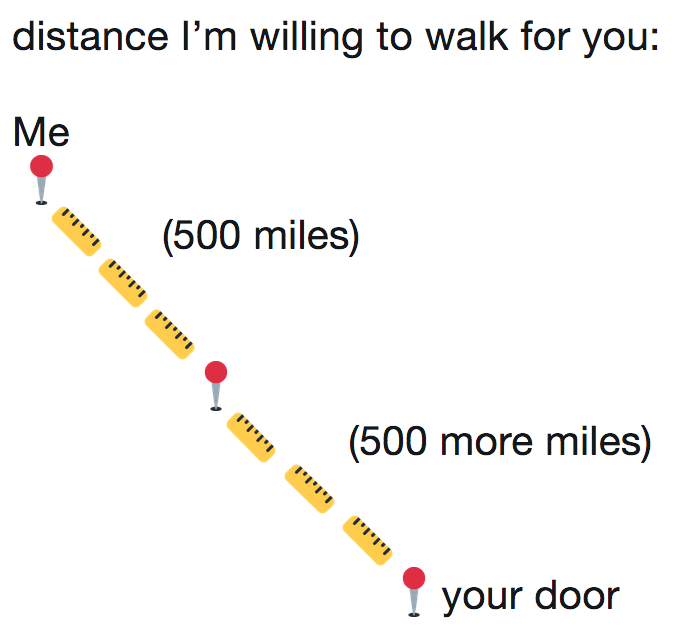 """Caption that reads, """"Distance I'm willing to walk for you"""" with """"me"""" being a 500-mile walk and then 500 more miles from """"your door"""""""