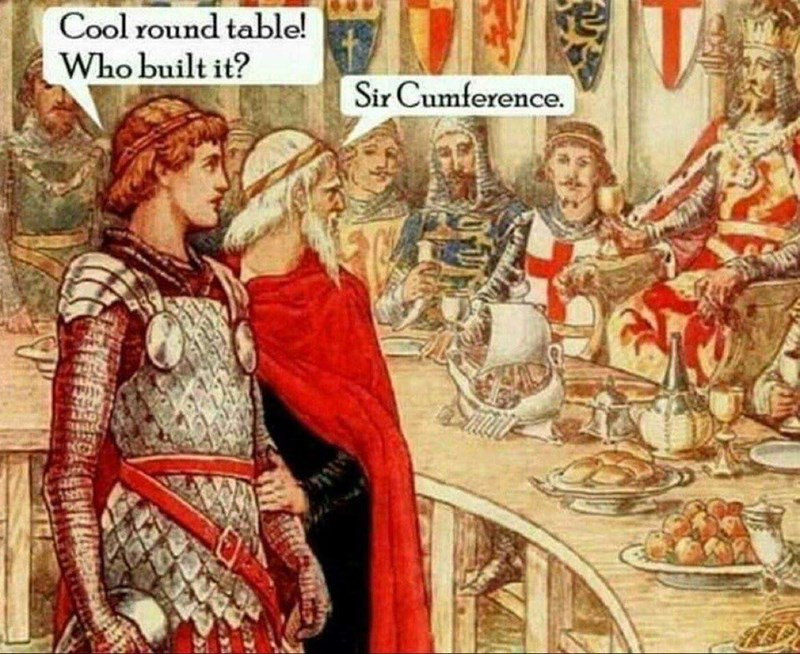 "Medieval painting of two people standing in front of a round table; one of them says, ""Cool round table! Who built it?"" and the other says ""Sir Cumference"""