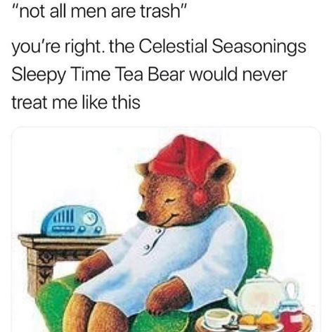 """Organism - """"not all men are trash"""" you're right. the Celestial Seasonings Sleepy Time Tea Bear would never treat me like this"""