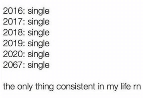 Text - 2016: single 2017: single 2018: single 2019: single 2020: single 2067: single the only thing consistent in my life rn