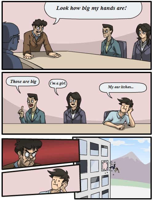 meme about an office meeting that doesn't go well and doesn't make sense